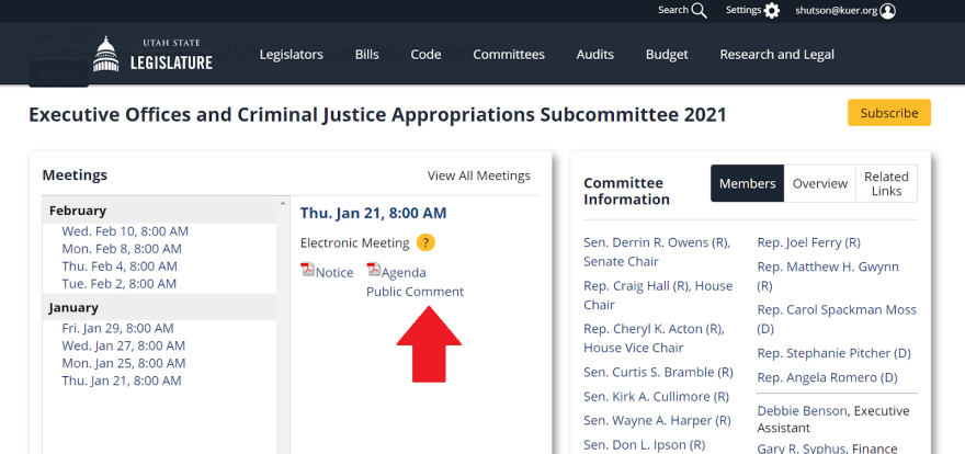 A screenshoot of an example where to sign up to give a public comment.