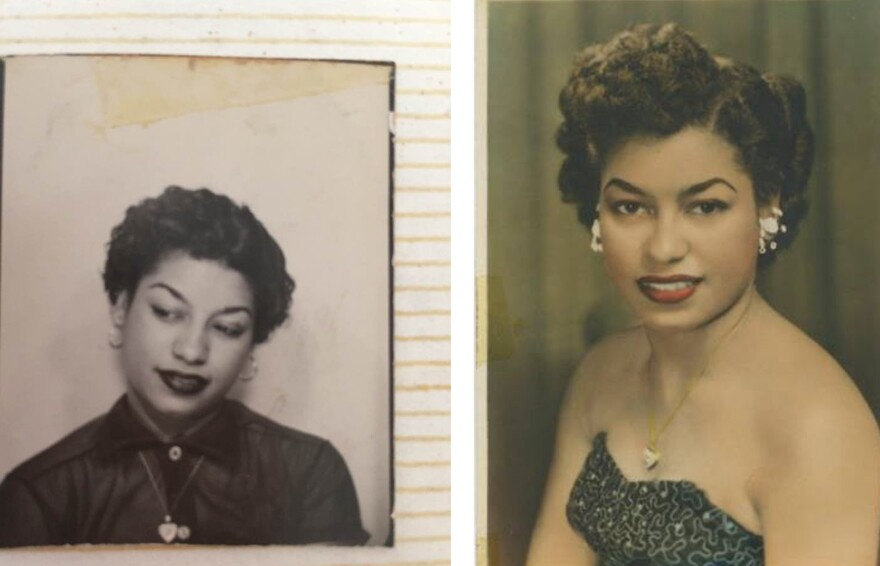 Left: A photobooth image of Ramona Latty, taken shortly after her arrival in the U.S. in 1950, at the age of 19. Right: A photo of Latty taken around the time she met the man who would become her husband, Albert.