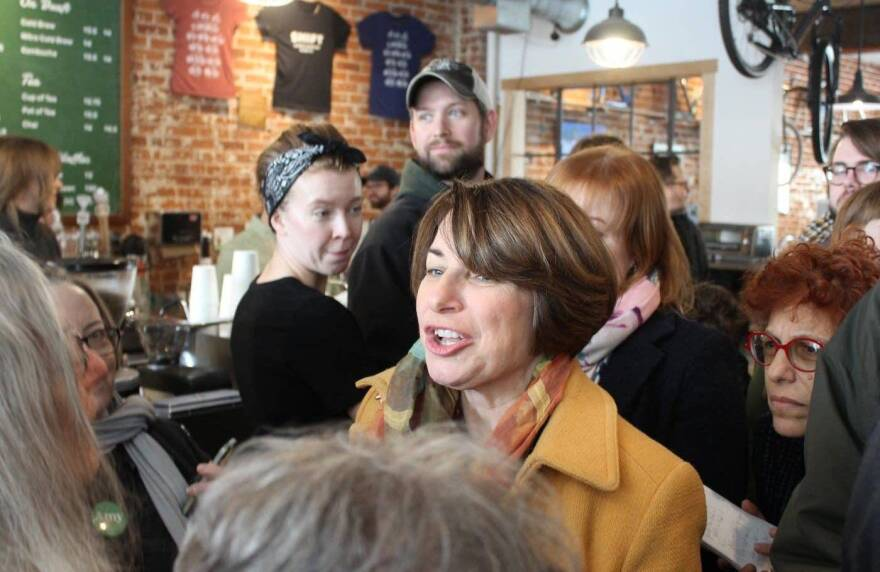 Sen. Amy Klobuchar holds an event at Shift Cyclery & Coffee Bar in Eau Claire, Wis., on Feb. 16. Klobuchar is among the Democratic presidential hopefuls paying attention to Wisconsin in this election cycle.