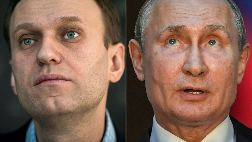 The EU is placing punitive sanctions on Russian officials with close ties to Russian President Vladimir Putin over the poisoning of opposition leader Alexei Navalny, left.