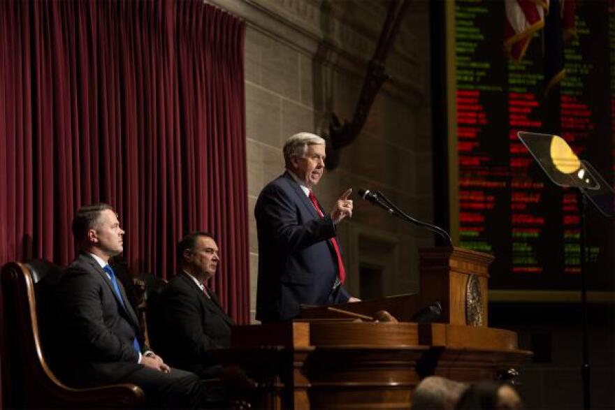 Missouri Gov. Mike Parson outlines budget plans during his 2019 State of the State address.