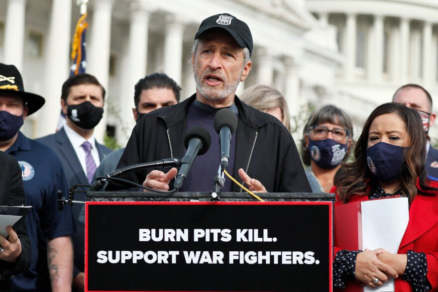 "Comedian, writer and veterans advocate Jon Stewart speaks at a press conference on ""The Presumptive Benefits for War Fighters Exposed to Burn Pits and Other Toxins Act of 2020"" at the House Triangle in Washington, D.C., on Tuesday."