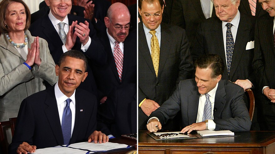 President Obama is applauded after signing the health care overhaul during a ceremony in the White House on March 23, 2010. Then-Gov. Mitt Romney signs a Massachusetts health care overhaul at Faneuil Hall in Boston on April 12, 2006.