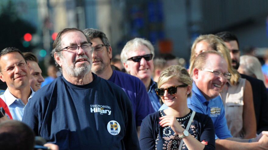Union workers and their families listen to Vice President Joe Biden and Democratic vice presidential candidate, Sen. Tim Kaine, D-Va., speak before the annual Labor Day Parade, Monday, Sept. 5, 2016, in Pittsburgh, Pa.