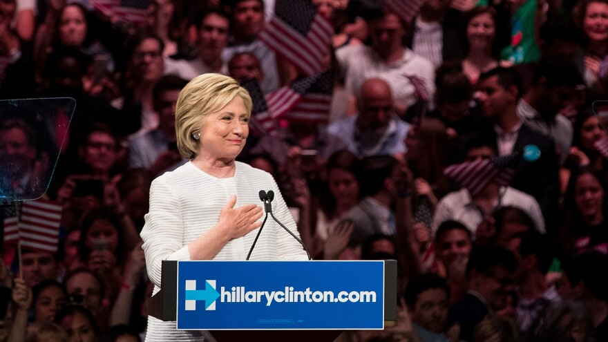 Hillary Clinton, heartened by her supporters' reception, after voting on the June 7th, the night it became clear she would be the first woman nominee of a major-party ticket.