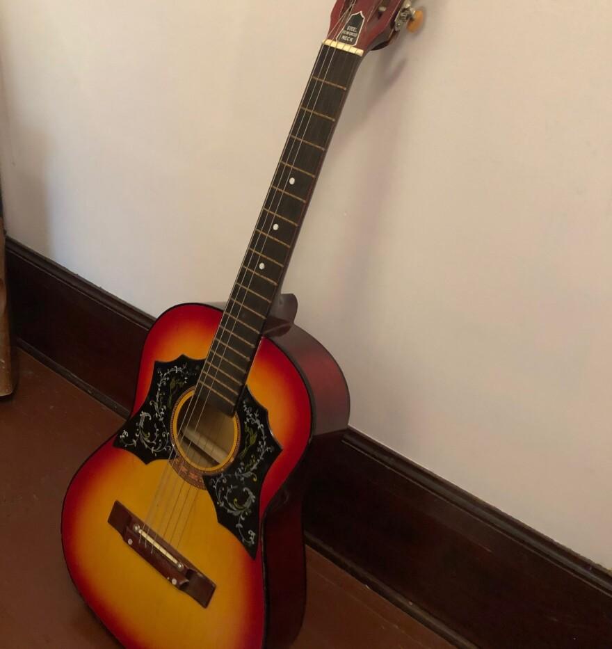 A photo of David Giffels' acoustic guitar.
