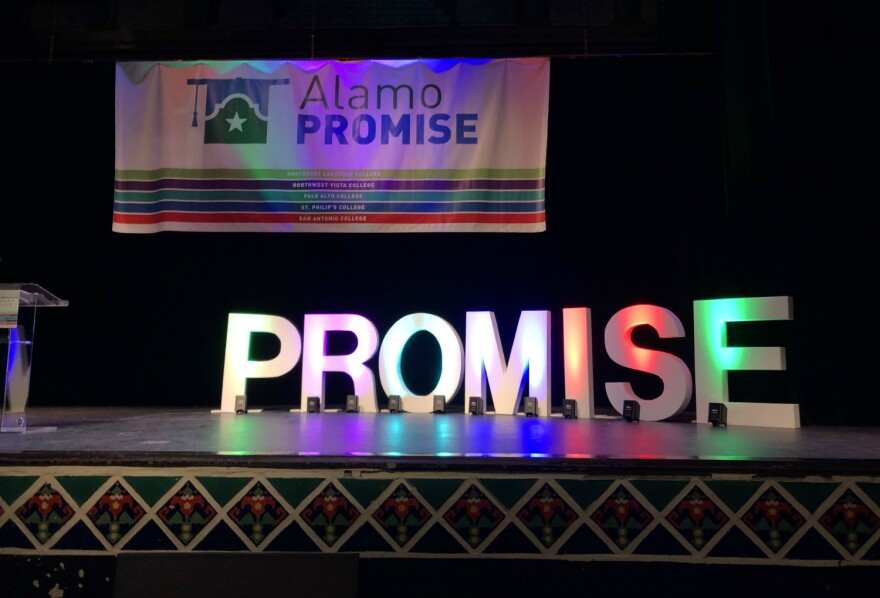 """Alamo Colleges lit up the word """"Promise"""" in colored lights on the stage of Jefferson High School's auditorium Oct. 2, 2019 for the launch of the AlamoPROMISE free tuition program."""