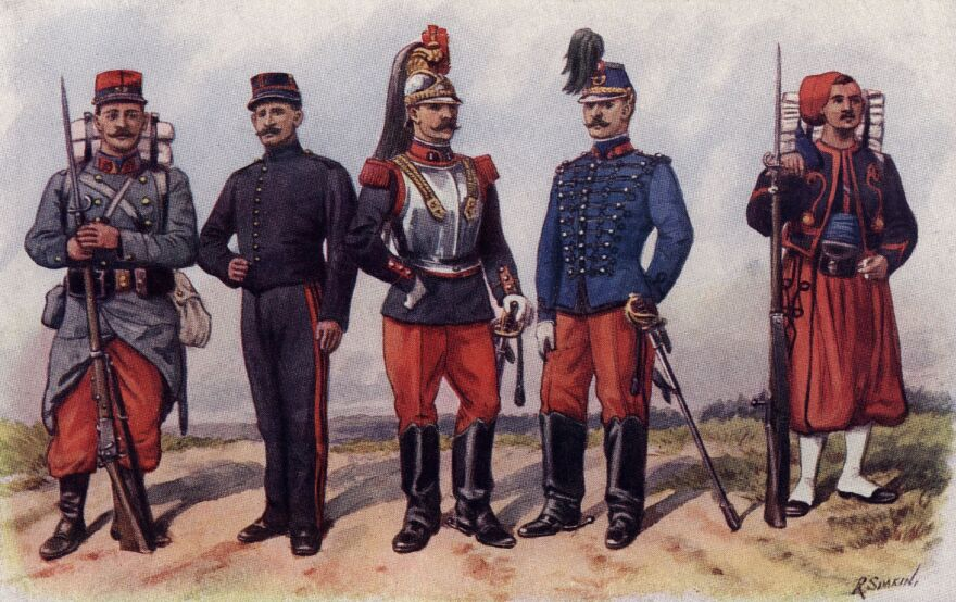 Uniforms of the French Army, circa 1850.