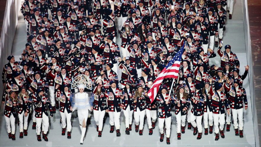 Team USA enters the stadium during the Opening Ceremony of the Sochi 2014 Olympic Games in Russia.