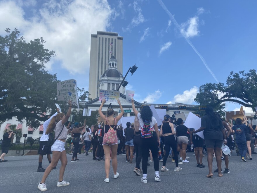 Protesters gather in the intersection of Apalachee Parkway and Monroe Street in downtown Tallahassee Saturday, in front of the Old Capitol building.