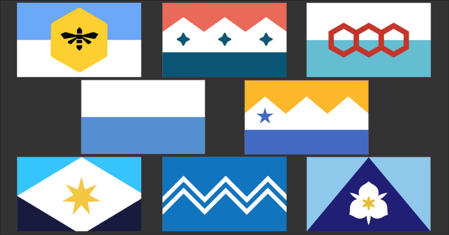 Eight flag designs cropped into one image