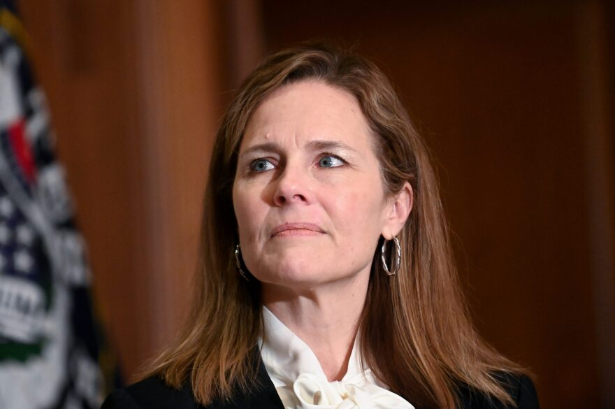 Seventh U.S. Circuit Court Judge Amy Coney Barrett, President Donald Trump's nominee for the U.S. Supreme Court, meets with Sen. Kevin Cramer (R-ND) as she prepares for her confirmation hearing, on Capitol Hill on October 1, 2020 in Washington, DC. (Erin Scott/Pool via Getty Images)