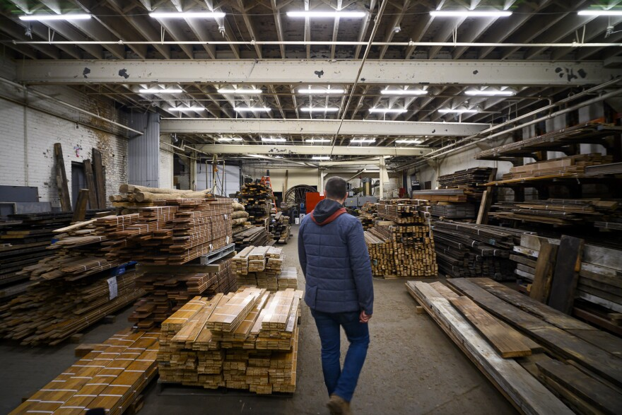 Piles of lumber at Refab's warehouse in south St. Louis on Nov. 21, 2019.