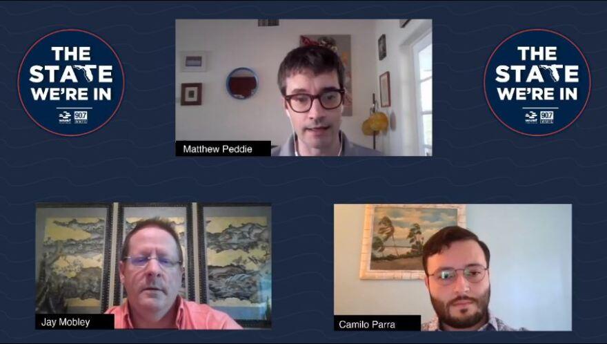 Host Matthew Peddie (top center) speaks with attorneys Jay Mobley (bottom left) and Camilo Parra (bottom right).
