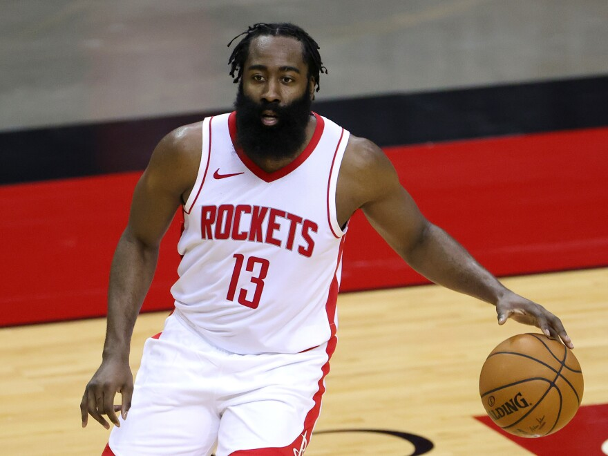 James Harden of the Houston Rockets was fined $50,000 for violating the NBA's health and safety protocols. He's seen on the court during a preseason game against the San Antonio Spurs on December 17.