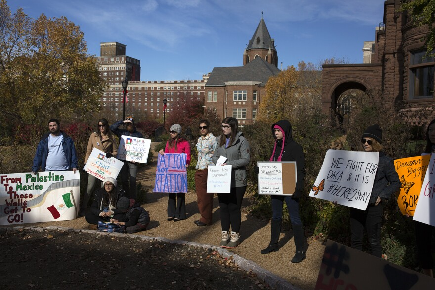 Supporters stand with MO Dreamers for a rally on the Saint Louis University campus. Nov. 10, 2017