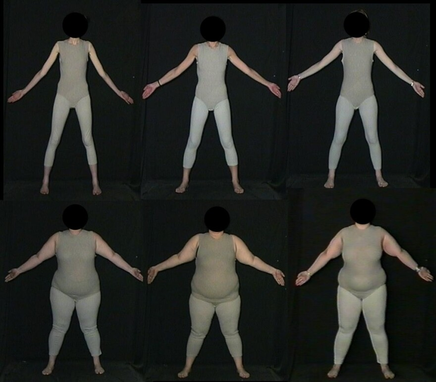 Pictures like these helped British researchers gauge people's attitudes about weight.