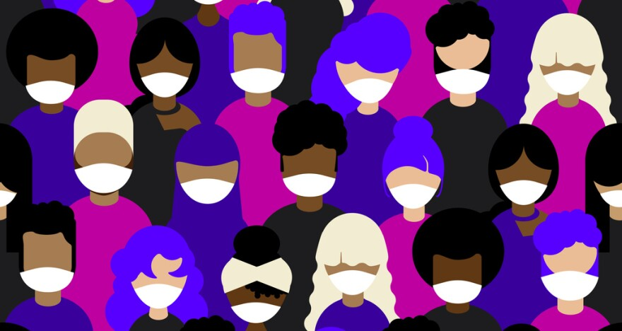 An illustration of racially diverse people wearing medical face masks.