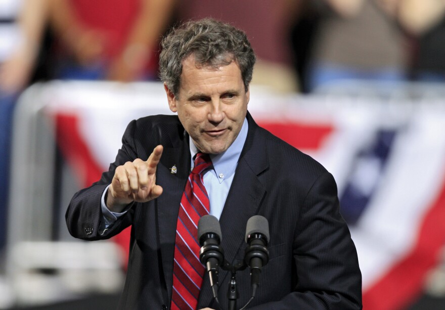 """Democratic Sen. Sherrod Brown speaks in Columbus, Ohio, in May. Brown, who is up for re-election this year, says he wakes up every day """"trying to figure out how to create jobs."""""""