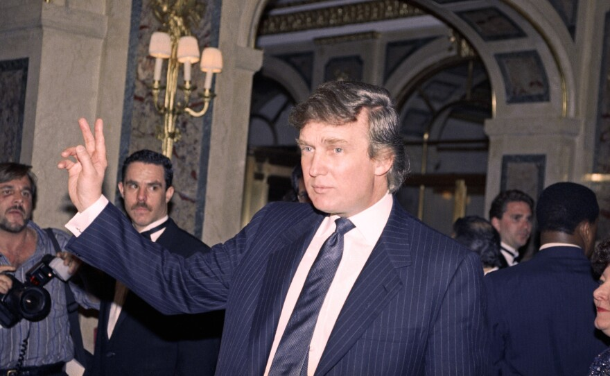 Donald Trump is seen in New York in 1991, the year of a phone call in which Trump allegedly posed as his own spokesman. The presidential candidate denied it was him after <em>The Washington Post</em> published the recording.