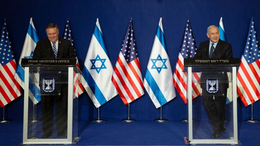 US Secretary of State Mike Pompeo and Israeli Prime Minister Benjamin Netanyahu deliver a joint statement after meeting Thursday in Jerusalem.