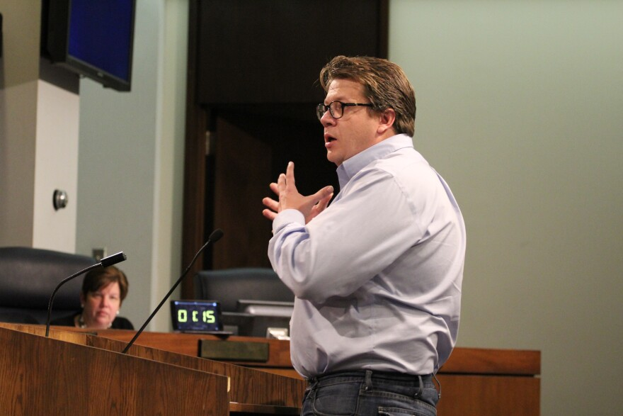 Landlord Joseph Ord speaks out against O'Mara's legislation at last week's St. Louis County Council meeting.