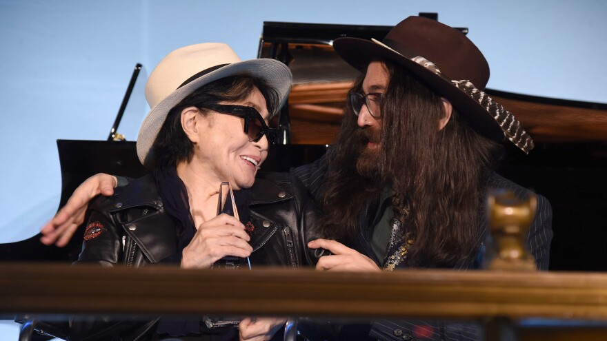 """Yoko Ono, accompanied by son Sean Lennon, accepted the Centennial Song award for """"Imagine"""" at a National Music Publishers' Association event Wednesday in New York."""