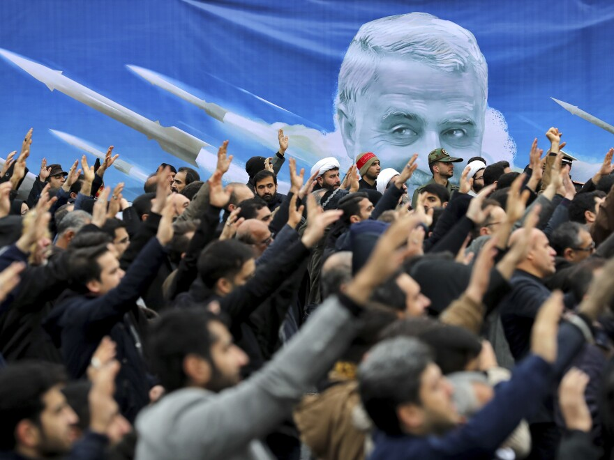Protesters demonstrate over the U.S. killing in Iraq of Iranian Revolutionary Guard Maj. Gen. Qassem Soleimani in Tehran, Iran, on Jan. 4.