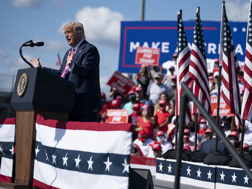 President Donald Trump speaks during a campaign rally in Lumberton, N.C.