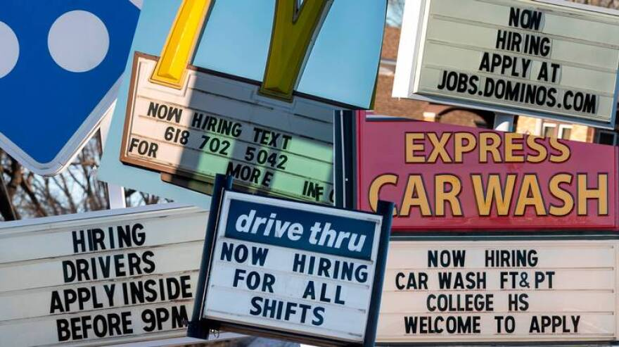 Now hiring signs can be found at several fast food and small businesses through out the St. Louis region as the minimum wage is set to increase January 1, 2021.