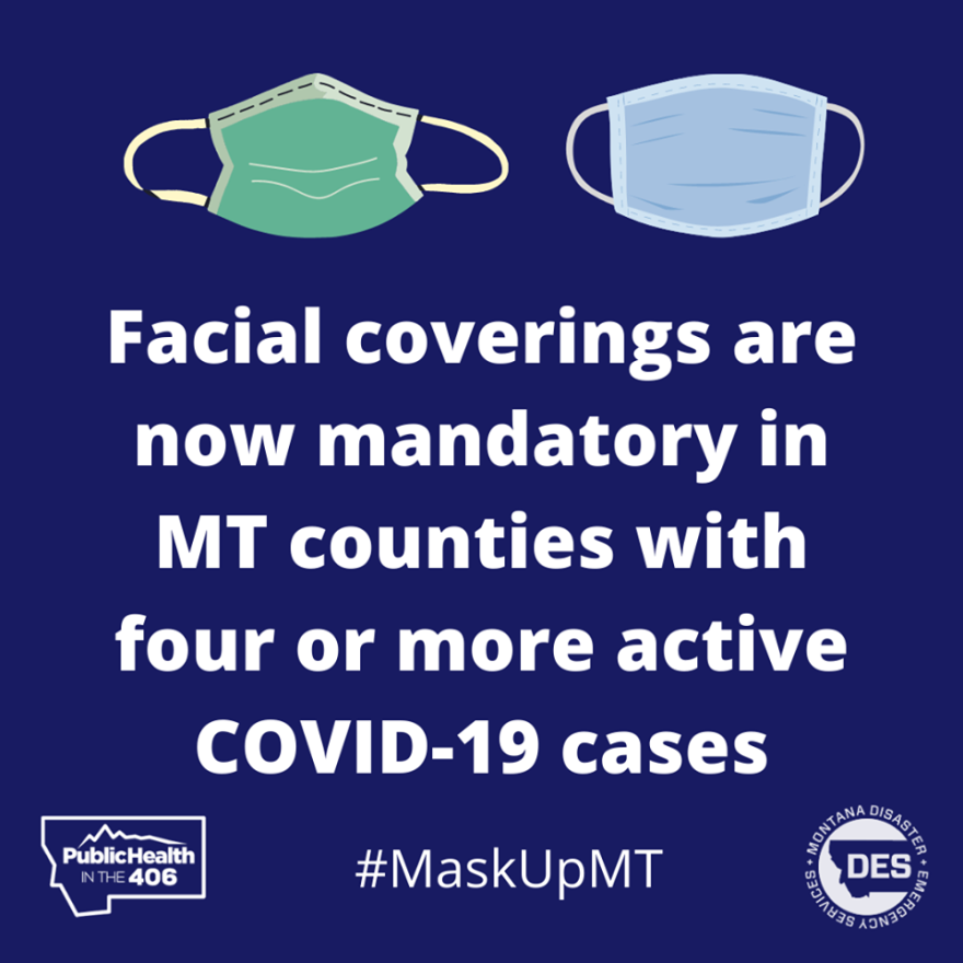"""A graphic of two masks with the text """"Facial coverings are now mandatory in MT counties with four or more active COVID-19 cases. #MaskUpMT."""""""