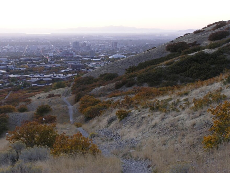 a trail on Photo of a hillside overlooking downtown Salt Lake City