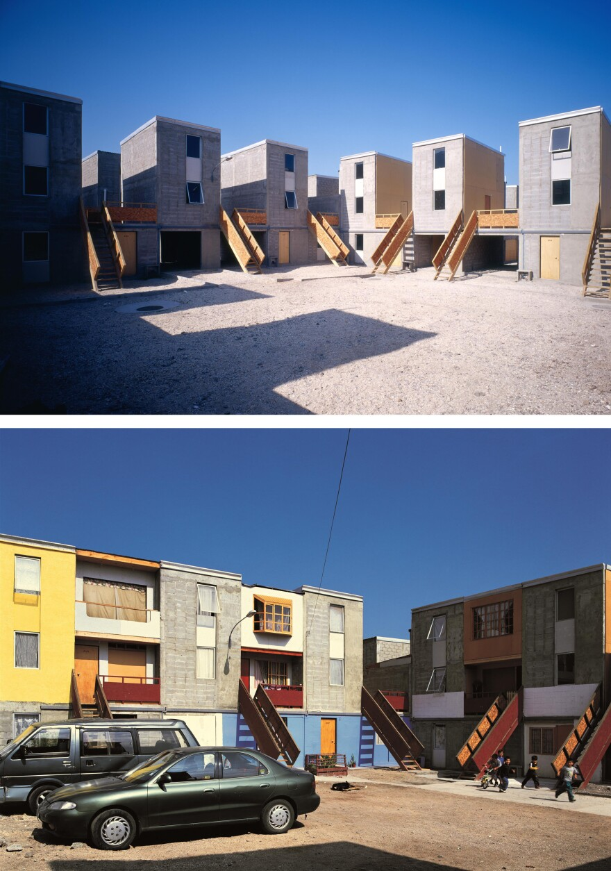 """<strong>Quinta Monroy Housing, Iquique, Chile, 2004:</strong> """"The challenge of this project was to accommodate 100 families living in a 30-year-old slum,"""" Aravena says. """"We provided the families with the 'half a house' [top photo] that would be difficult for them to build for themselves and we gave them space to 'complete the house' as their means allowed [bottom photo]."""""""