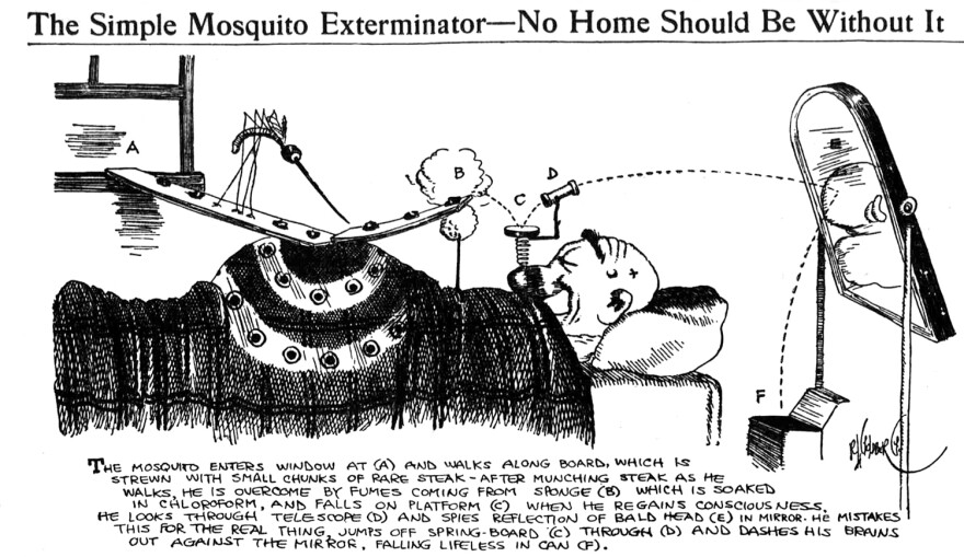 From 1912, this is the first of Goldberg's invention cartoons. Initially, he created only about a dozen such drawings over several years — until they caught on and he realized he had a hit on his hands.