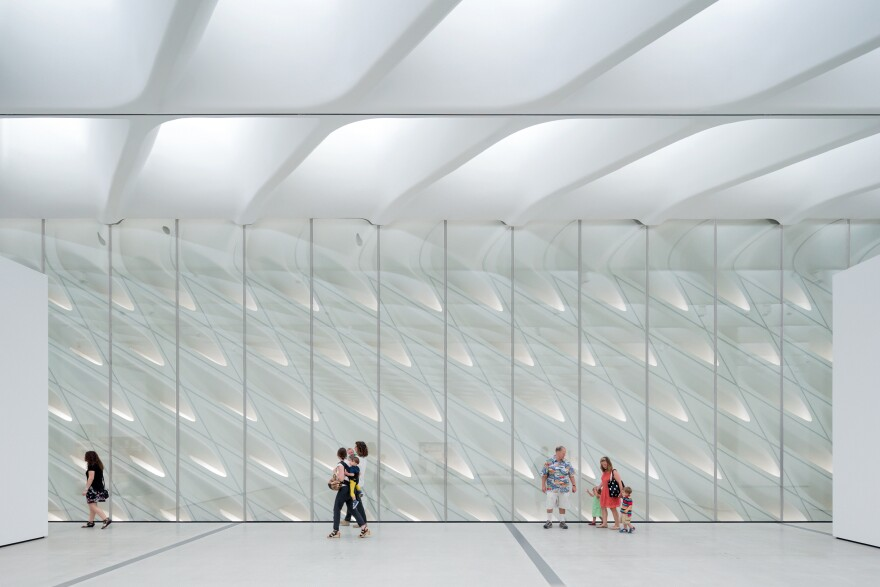 """With skylights and the """"interior veil,"""" light streams into The Broad's third floor galleries."""