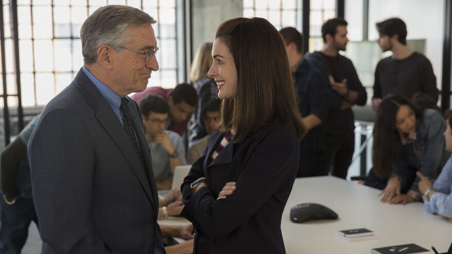 Anne Hathaway is the CEO and Robert De Niro is the intern in Nancy Meyers' new comedy, <em>The Intern</em>.