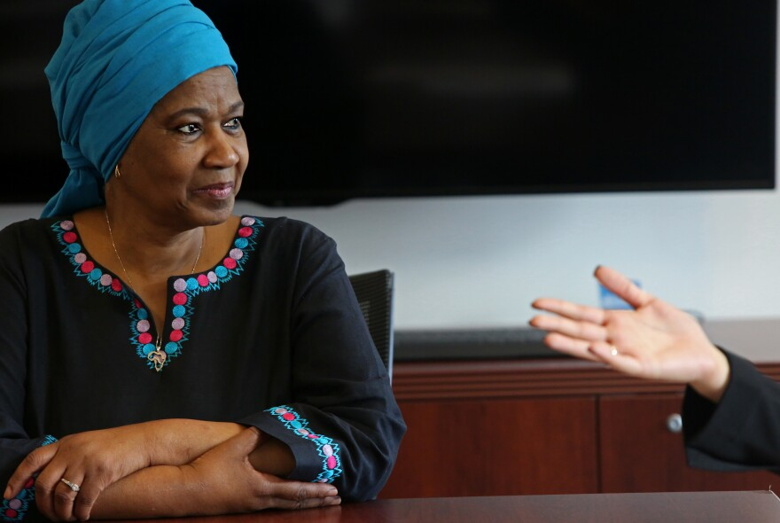 Phumzile Mlambo-Ngcuka, executive director of UN Women, met with the young women presenting the bill of rights.