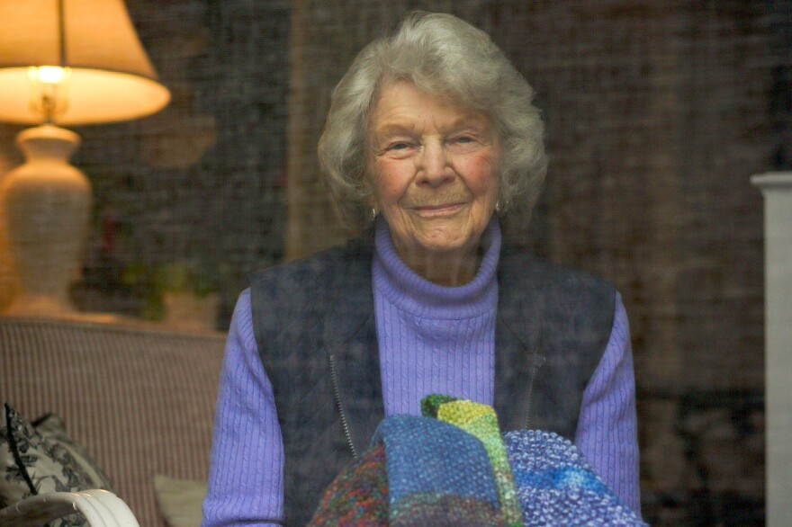 Barbara Folk, 97, has been spending her time in lockdown knitting and sewing face masks.