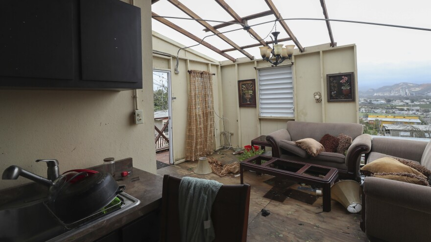 A damaged home in the aftermath of Hurricane Maria, in Punta Diamante, Puerto Rico on Sept. 21, 2017. On Monday, Gov. Ricardo Rossello said the majority of federal recovery grants would go toward rebuilding homes and businesses.