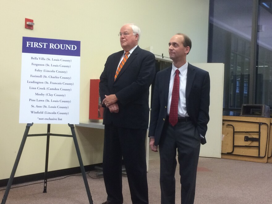 State Auditor Tom Schweich stands next to St. Charles County Executive Steve Ehlmann during his St. Louis press conference. Schweich announced he'll be auditing 10 municipal courts, including seven within the St. Louis metro area.