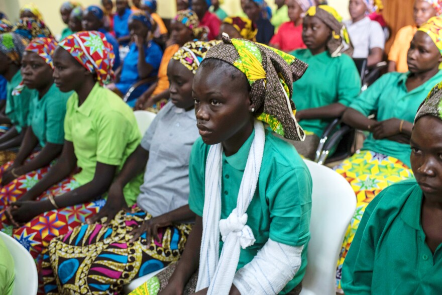 Some of the newly released girls from the community of Chibok were photographed in Abuja, Nigeria's capital, on May 8, 2017. They had been captured by Boko Haram in 2014.
