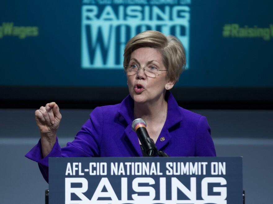 Sen. Elizabeth Warren, D-Mass. speaks about raising wages before the AFL-CIO National Summit in January.