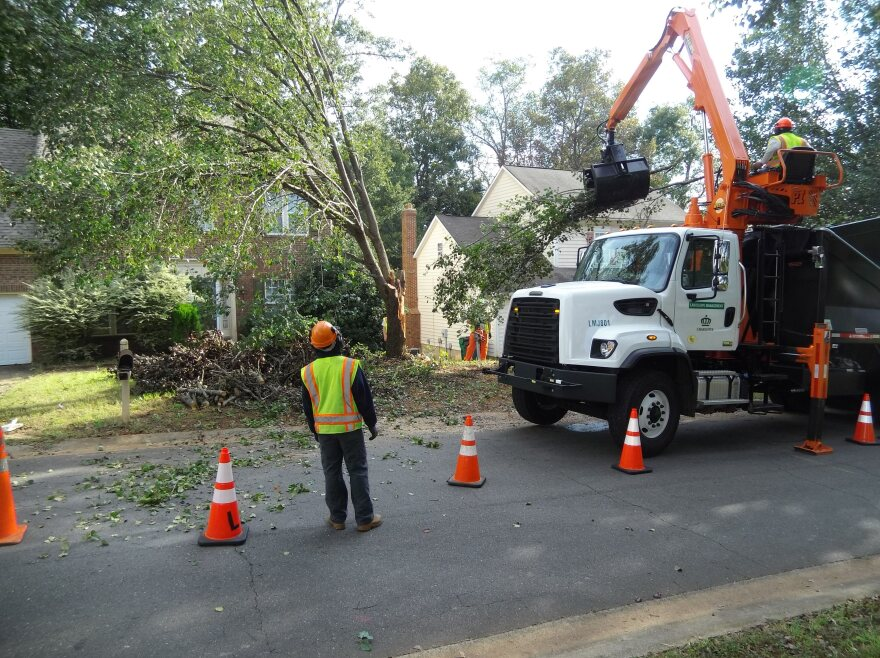Workers remove a Bradford Pear that was damaged by Tropical Storm Michael.