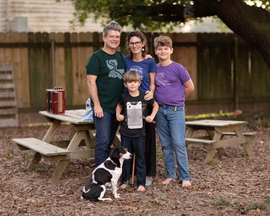 Steve and Katie Riley with their sons Burke, 11, and Dolsy, 8, are quarantining at their home in Scott, La. Riley says the lack of music is famishing Cajun culture—which is all about people coming together.