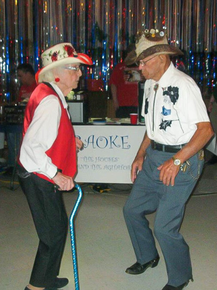 Rose Liscum and Bill Cota dance at the Heuvelton, N.Y., AMVETS where they first met.