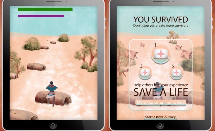 Screen shots of Salaam. Players gather resources like food and medicine while running away from violence to stay alive.