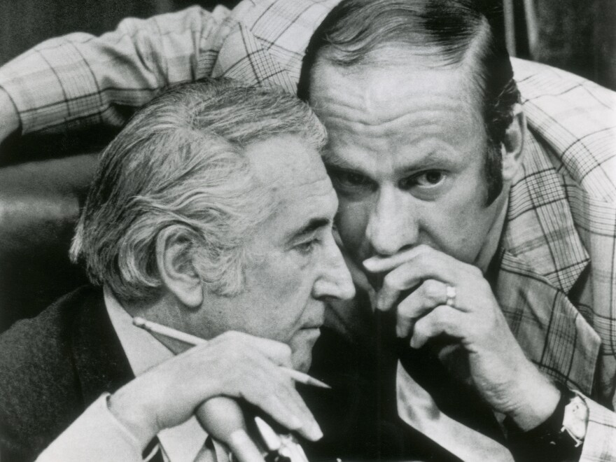 In this July 27, 1974, file photo, Rep. Thomas Railsback, R-Ill., right, confers with chairman Peter Rodino, D-N.J., during the House Judiciary Committee's debate on impeachment articles drafted against President Richard Nixon.