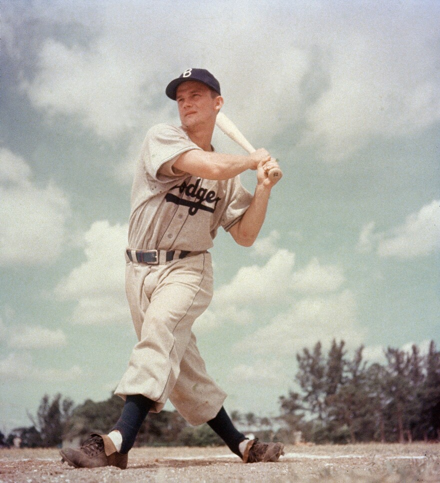 Don Zimmer plays for the Brooklyn Dodgers in the mid-1950s.