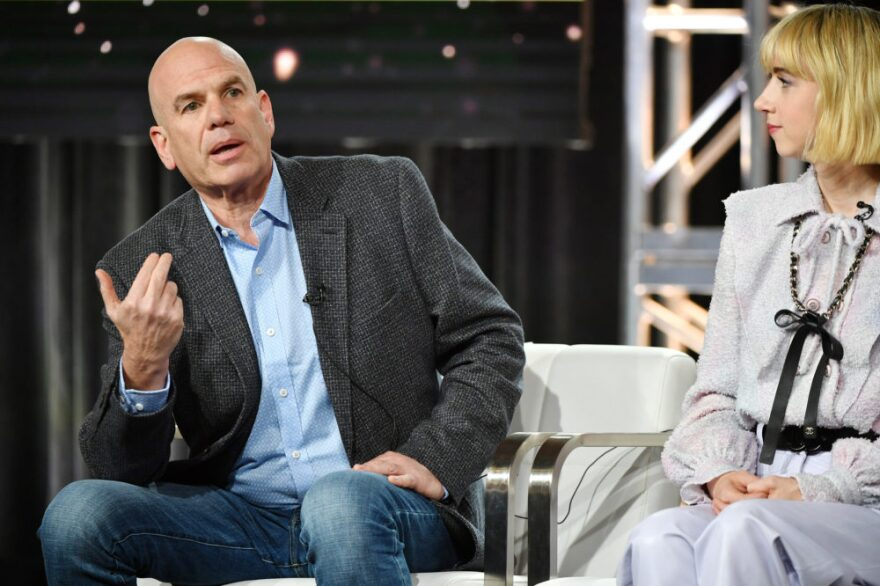"""David Simon and Zoe Kazan of """"The Plot Against America"""" speak during the HBO segment of the 2020 Winter TCA Press Tour at The Langham Huntington, Pasadena on January 15, 2020 in Pasadena, California. (Amy Sussman/Getty Images)"""