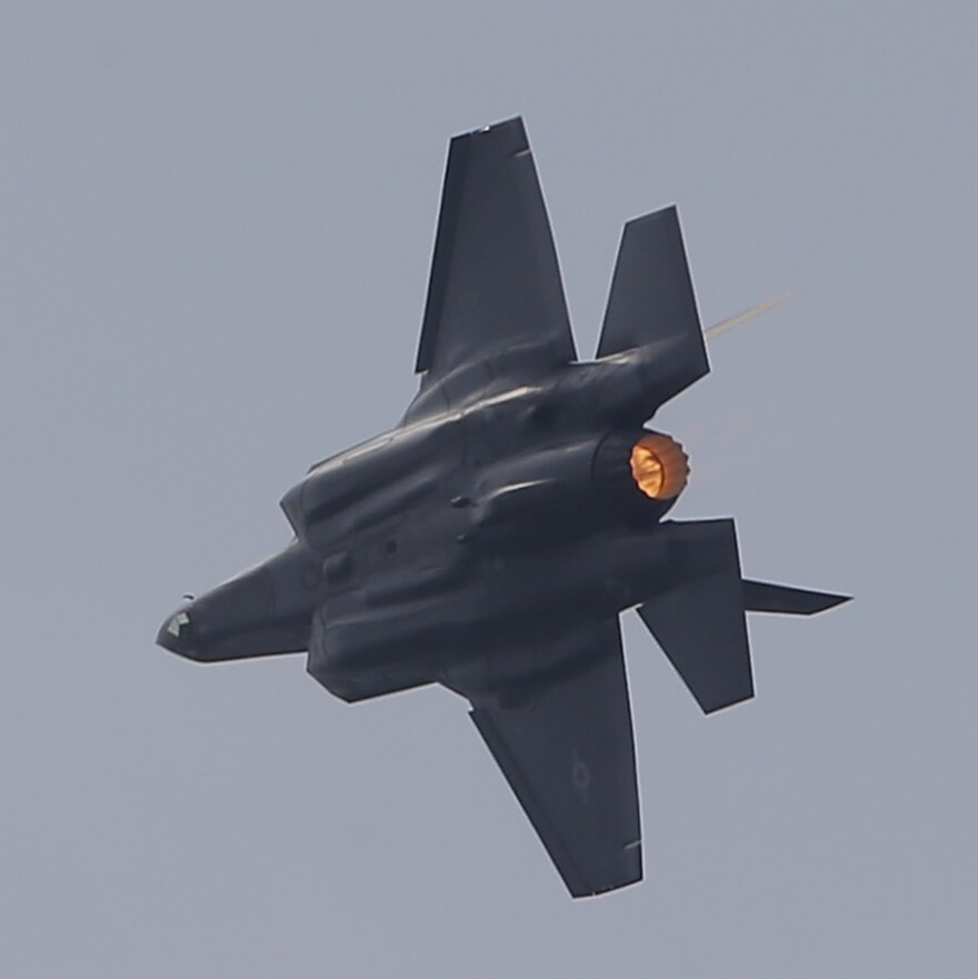 The US Lockheed Martin F-35 Lightning II performs a demonstration flight at Paris Air Show, in Le Bourget, east of Paris, France, last June.
